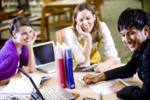 AA - Three university students studying together ForisHub
